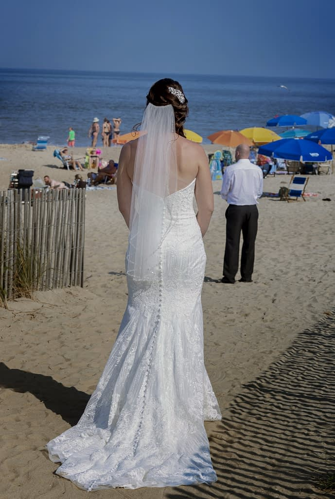 eastern shore weddings photo of first look in rehoboth beach