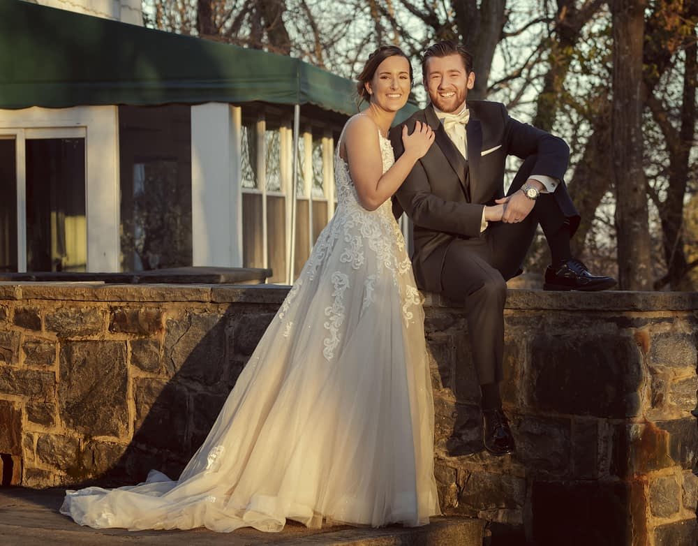 eastern shore weddings photo fo couple posing for photo after wedding ceremony
