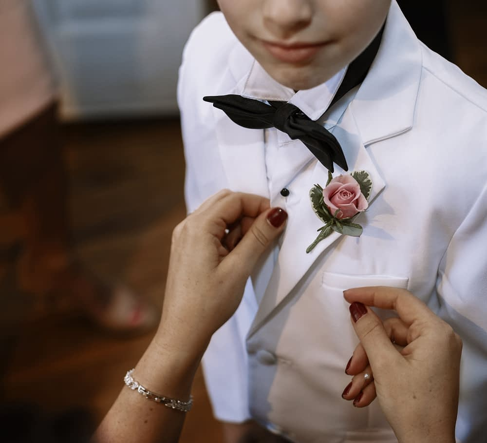 eastern shore wedding photo of ring bearer on wedding day