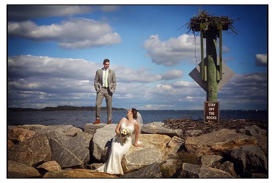 Bride and groom on Jetti, Maryland Beach