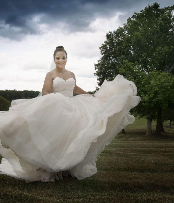 eastern shore weddings photo of bride dancing outside