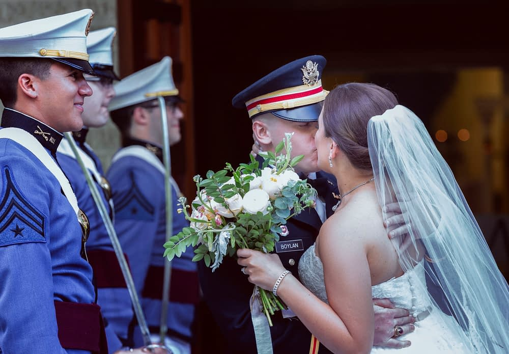 eastern shore wedding photo of bride and groom kissing at military weddings