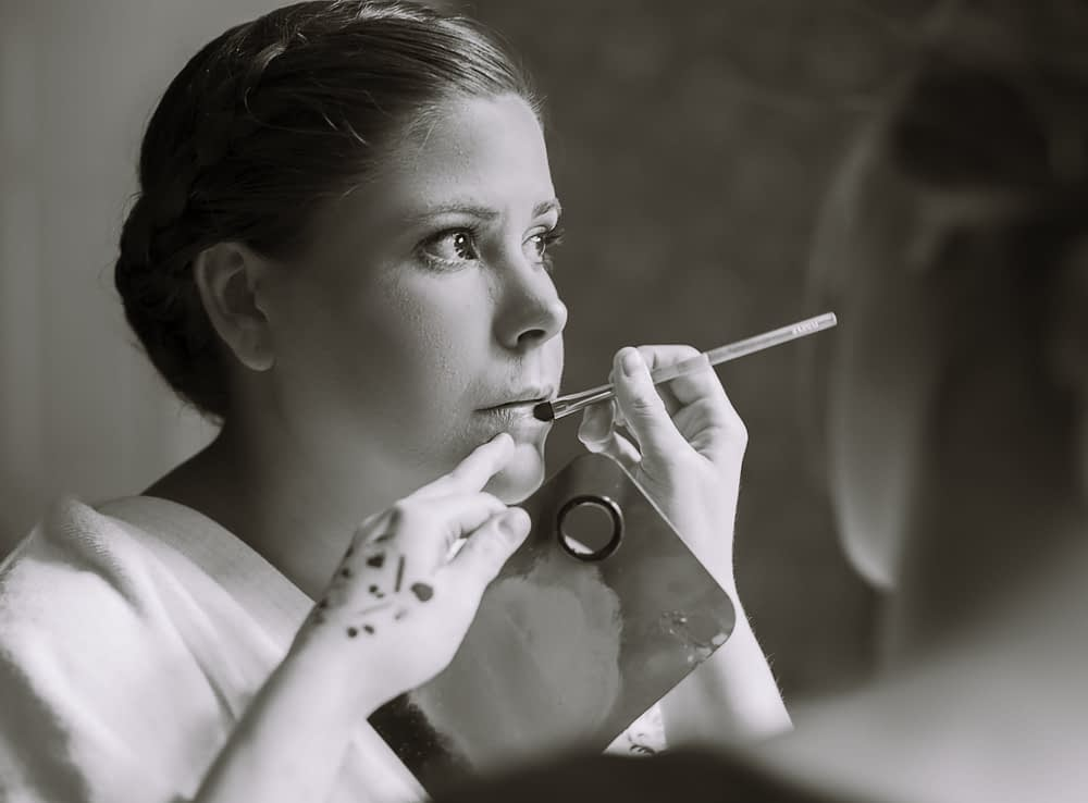 Eastern shore wedding photo of bride getting make-up