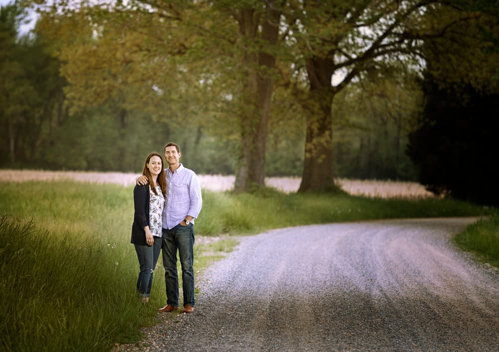 Couple standing near road