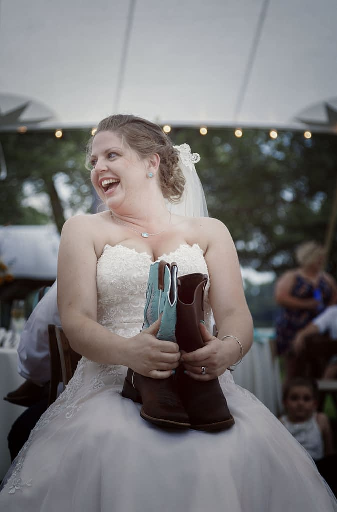 Eastern shore weddings bride playing game during reception