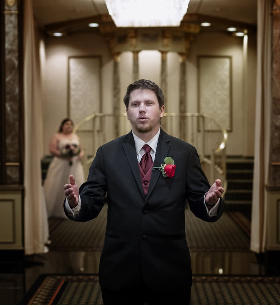 eastern shore wedding photo of groom waiting for bride during first look,