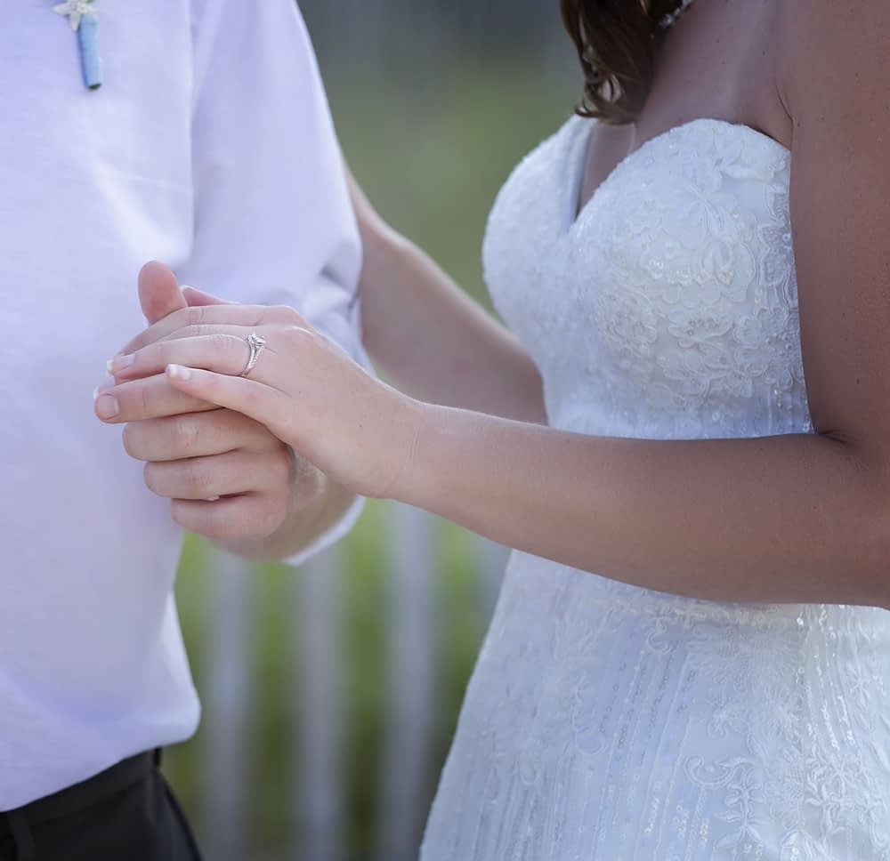 eastern shore weddings photo of bride and groom holding hands